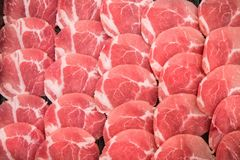 Frozen raw pork slice background ,raw meat. For BBQ Royalty Free Stock Image