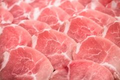 Frozen raw pork slice background ,raw meat. For BBQ Royalty Free Stock Photography