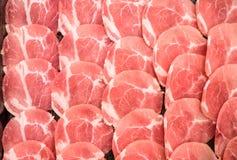 Frozen raw pork slice background ,raw meat. For BBQ Stock Image