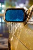 Frozen rearview mirror Stock Photo