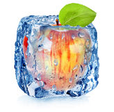 Frozen red apple Stock Image