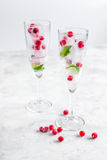 Frozen red berries in ice cubes with mint in glasses on stone background Royalty Free Stock Photos
