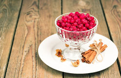 Frozen red currant berries in a glass bowl with cinnamon Royalty Free Stock Photography