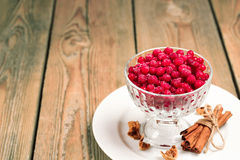 Frozen red currant berries in a glass bowl with cinnamon Royalty Free Stock Image