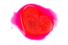 Frozen red heart melting. Isolated on white background Stock Image