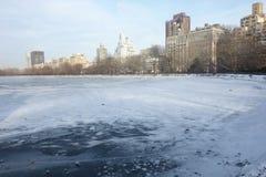 Frozen Reservoir in New York City Stock Photo