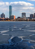 Frozen River. Charles River frozen in Boston royalty free stock image