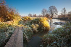 Frozen river. Frozen landscape and river in Poland Stock Photo