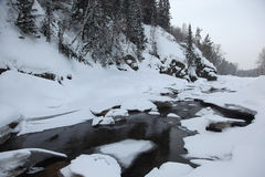 Frozen river in the Altai mountains Royalty Free Stock Images