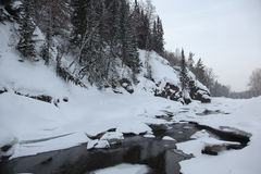 Frozen river in the Altai mountains Stock Images