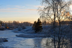 Frozen river. Aura, Finland Royalty Free Stock Photography