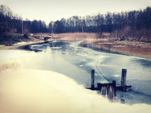 Frozen river bank landscape Royalty Free Stock Photo