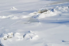 Frozen river. In Canada. Winter in Quebec. Winter desert or lunar landscape Royalty Free Stock Image