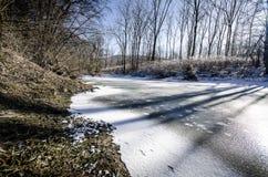 Frozen river stock photo