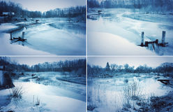 Frozen river in countryside Stock Photos