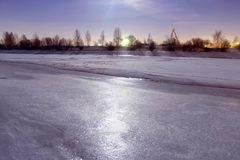 Frozen river covered with ice Royalty Free Stock Images