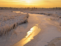 Frozen river in early morning Royalty Free Stock Images