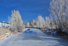 Frozen River in Estes Park Stock Photo
