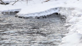 Frozen River Flow with Icicles stock video footage
