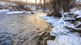 Frozen River Flow with Icicles stock footage