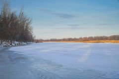 Frozen river, forest in the distance, dry sedge and blue cloudy sky. Winter landscape. Frozen river, forest in the distance, dry sedge and blue cloudy sky royalty free stock photos