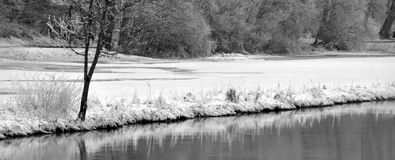 Frozen river. And snow in germany Stock Photography