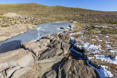 Frozen River. High in the Maluti Mountains, Le4sotho Stock Photo