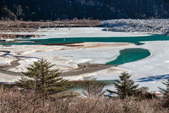 Frozen river with ice and water in sideway that on the way to Zero Point at Lachung in winter. North Sikkim, India.  Stock Photos