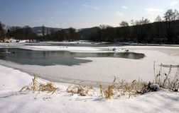 Frozen river Krka Stock Photos