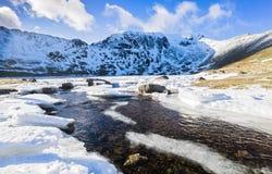 Frozen river, Lake District, UK. Stock Photo