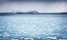 Frozen river landscape Royalty Free Stock Images