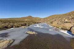 Frozen River. In the Maluti Mountains, Lesotho Royalty Free Stock Photos