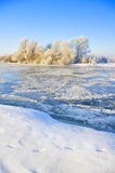 Frozen river at the morning Stock Photography