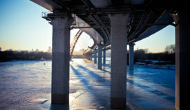 Frozen river in Moscow. Royalty Free Stock Photography