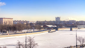 Frozen river Moskva Stock Photo