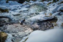 Frozen river on mountains Stock Photos