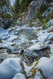 Frozen river on mountains Royalty Free Stock Image