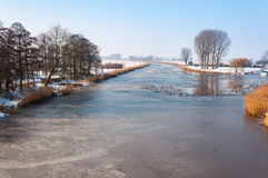 Frozen river in the Netherlands Royalty Free Stock Photo