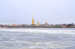 Frozen River Neva and Peter Paul Fortress. Royalty Free Stock Photos