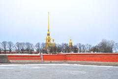 Frozen River Neva and Peter Paul Fortress. Stock Image