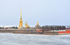 Frozen River Neva and Peter Paul Fortress. Royalty Free Stock Image