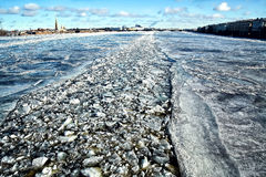 Frozen river Neva in winter Royalty Free Stock Images