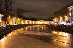 The frozen river. Royalty Free Stock Image
