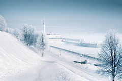 Frozen river port in Russia with clean atmosphere. Day After Tomorrow Royalty Free Stock Photo