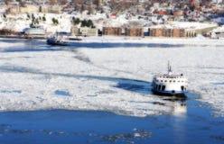 Frozen river. A frozen river in Quebec city, Canada Stock Photography