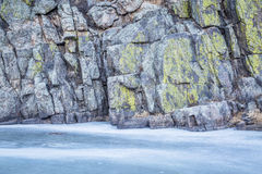 Frozen river and rocky cliff Stock Photo