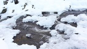 Frozen river in the snow stock video footage
