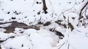 Frozen river in the snow stock footage