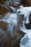 Frozen river stream thawing out for the season. Icy River Stream as the water runs over the rocks royalty free stock images