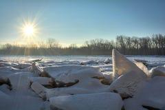 Frozen River Sunrise Stock Photo